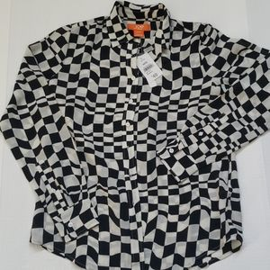 NWT Black & White Checkered Silk Blouse